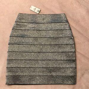 NWT- Express Silver Sparkle Stretch Skirt